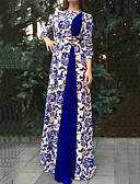 hesapli Vintage Kraliçesi-Kadın's Büyük Bedenler Zarif Elbise - Paisley, Desen Maksi