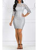 hesapli Kadın Elbiseleri-Kadın's Bandaj Kılıf Elbise - Solid Diz-boyu