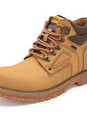 cheap Men's Jackets & Coats-Men's Leather Shoes Cowhide Spring / Fall & Winter Vintage / British Boots Hiking Shoes / Walking Shoes Warm Booties / Ankle Boots Light Brown / Dark Brown / Yellow