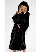povoljno Ženske kaputi od kože i umjetne kože-Žene Dnevno Jesen zima Normalne dužine Faux Fur Coat, Jednobojni S kapuljačom Dugih rukava Umjetno krzno Crn