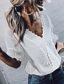 billige Bluser-Skjorte Dame - Geometrisk, Trykt mønster Grunnleggende Hvit