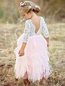 זול שמלות לילדות פרחים-שמלה שרוול ארוך תחרה / שכבות מרובות אחיד בסיסי בנות ילדים / כותנה
