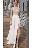 povoljno Večernje haljine-A-kroj Ovalni izrez Do poda Šifon / Čipka See Through Prom Haljina s Aplikacije / Prednji izrez po LAN TING Express
