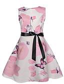 povoljno Haljine za djevojčice-Djeca Djevojčice Aktivan slatko Cvjetni print Bez rukávů Do koljena Haljina Blushing Pink