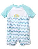 זול בגדי ים לבנים-בגדי ים שרוול קצר פסים / קולור בלוק / טלאים כחול ולבן / כחול בנים ילדים / עולל / תינוק
