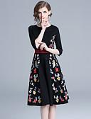 hesapli Romantik Dantel-Kadın's Temel Zarif A Şekilli Kılıf Elbise - Solid Çiçekli, Kırk Yama Nakış Midi Siyah