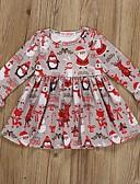 זול שמלות לתינוקות-שמלה שרוול ארוך דפוס / חג מולד בסיסי בנות תִינוֹק / פעוטות