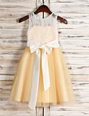 billige Bryllupsfestkjoler-A-linje Besmykket Knelang Blonder / Tyll Junior brudepikekjole med Blonder av LAN TING BRIDE®