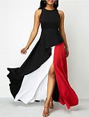 abordables Robes Grandes Tailles-Femme Maxi Gaine Robe Bloc de Couleur Noir XXXL XXXXL XXXXXL Sans Manches