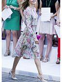 Недорогие Платья-Жен. Элегантный стиль А-силуэт Платье - Цветочный принт, С принтом До колена