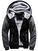 זול גברים-ג'קטים ומעילים-בגדי ריקוד גברים יומי רגיל ג'קט, קולור בלוק עם קפוצ'ון שרוול ארוך פוליאסטר שחור / פול / אודם