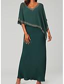 billige Skjorter til damer-Tube / kolonne V-hals Gulvlang Chiffon Kjole til brudens mor med Appliqué av LAN TING Express