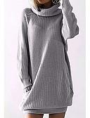 זול טישרטים לגופיות לגברים-S / M / L שחור / אפור פוליאסטר, סוודר רזה שרוול ארוך אחיד בגדי ריקוד נשים