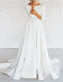 povoljno Vjenčanice-A-kroj Bateau Neck Jako kratki šlep Saten Izrađene su mjere za vjenčanja s po LAN TING Express