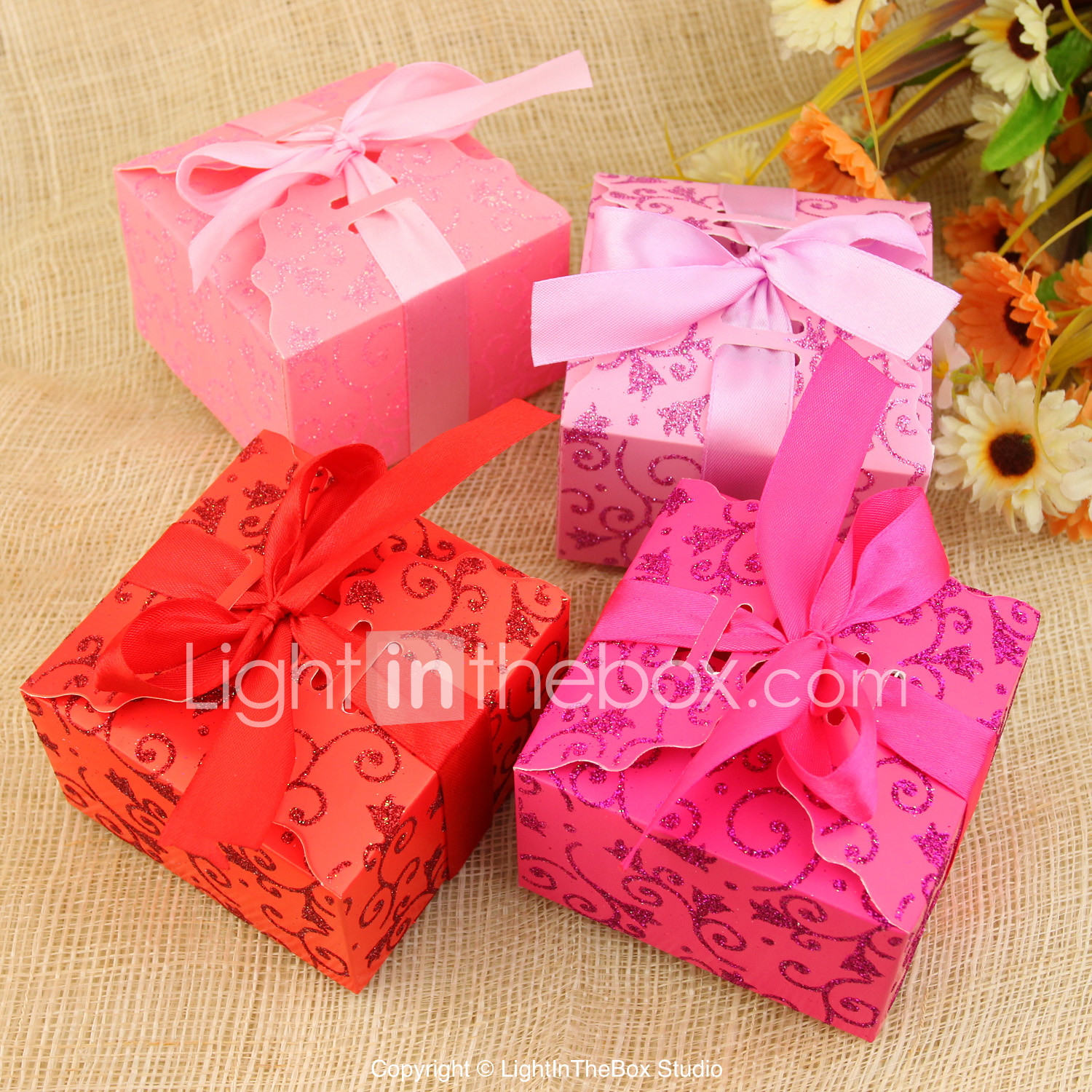 Cuboid Card Paper Favor Holder with Ribbons Favor Boxes - 12 503928 ...