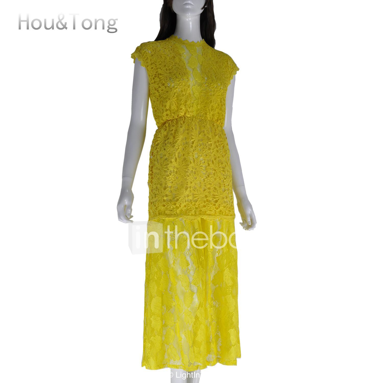 0aec29929838 Hou&Tong® Women's Sexy Fashion Lace Crochet Maxi Bodycon Backless ...