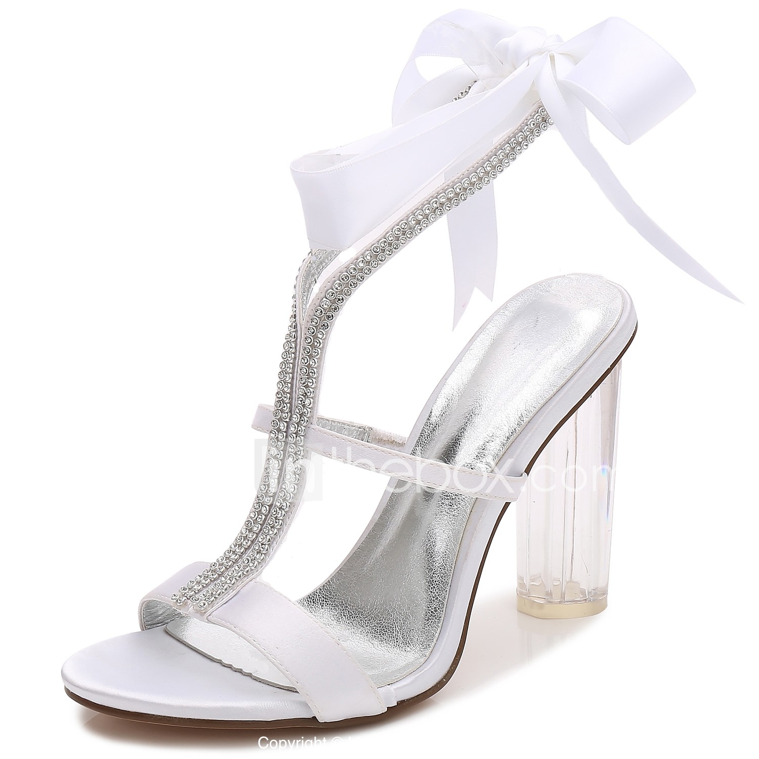 709d5cbee5 Women's Satin Spring / Summer T-Strap / Basic Pump / Ankle Strap Wedding  Shoes Chunky Heel / Translucent Heel / Crystal Heel Round Toe Rhinestone /  Bowknot ...