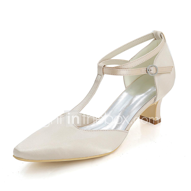de855fd60 Women's Wedding Shoes Block Heel Square Toe Satin Basic Pump Spring /  Summer Blue / Champagne