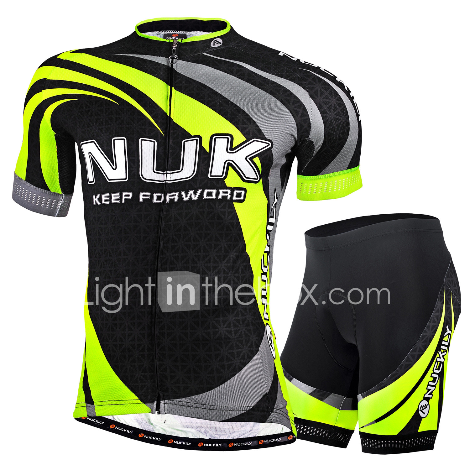 Nuckily Men s Short Sleeve Cycling Jersey with Shorts - Green Bike Shorts    Jersey   Clothing Suit 032251da4