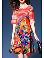 13f4d5d932a5 billige Kjoler-Dame Plusstørrelser Løstsiddende Chiffon Kjole - Geometrisk