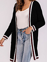 preiswerte Damen Pullover-Damen Ausgehen Street Schick Einfarbig Langarm  Lose Lang Strickjacke, V- e0eeafc1ba