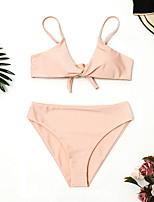 olcso Bikinik és fürdőruhák-Női Alap Arcpír rózsaszín Merész Bikini  Fürdőruha - Egyszínű M L XL 6e9e33f3d1
