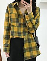 Χαμηλού Κόστους Γυναικείες Μπλούζες-γυναικεία ασιατική μέγεθος λεπτό  πουκάμισο - καρό πουκάμισο πουκάμισο 05da493e994