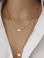 f96cbd48a982 abordables Collares-Mujer Collar Collares en capas Charm Necklace Dorado 53  cm Gargantillas Joyas 1pc