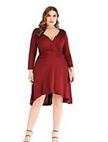 339105e147a5 Χαμηλού Κόστους Φορέματα Μεγάλα Μεγέθη-Γυναικεία Βασικό Γραμμή Α Φόρεμα -  Μονόχρωμο