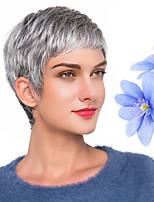 voordelige -Human Hair Capless Pruiken Echt haar Natuurlijk golvend Pixie-kapsel Stijl nieuw / Hot Sale / Comfortabel Donker Grijs Kort Zonder kap Pruik Dames / Allemaal / Afro-Amerikaanse pruik