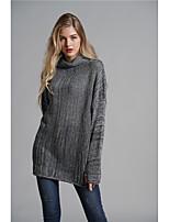 a59a9eb3c5 olcso Női pulóverek-Női Egyszínű Hosszú ujj Pulóver, Magasnyakú Ősz / Tél  Sötétszürke /