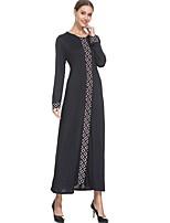economico -Abbigliamento tradizionale e culturale Abaya Per donna Da tutti i giorni Poliestere A fantasia / stampa Manica lunga Abaya