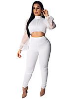 economico -Dancewear esotico Completi / Mini abiti Per donna Prestazioni Poliestere / Tulle Con ruche Manica lunga Top / Pantaloni