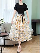Χαμηλού Κόστους -Γυναικεία Βασικό Σιφόν Φόρεμα - Φλοράλ, Στάμπα Μίντι