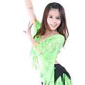 Danza del Vientre Tops Mujer Entrenamiento Encaje Encaje 1 Pieza Manga de longitud 3/4 Cintura Baja Top