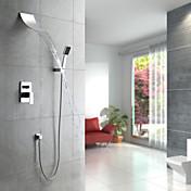 コンテンポラリー シャワーシステム 滝状吐水タイプ ハンドシャワーは含まれている with  セラミックバルブ 五つ シングルハンドル5つの穴 for  クロム , シャワー水栓