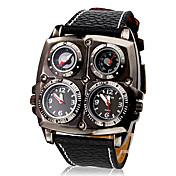 Hombre Reloj Militar Cuarzo Cuarzo Japonés Compass Termómetro Dos Husos Horarios PU Banda Negro