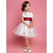 Una línea princesa longitud de la rodilla vestido de niña de flores - satén tulle correas sin mangas con drapeado