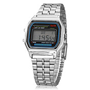 Hombre Reloj digital Reloj de Pulsera Digital Despertador Calendario Cronógrafo LCD Aleación Banda Plata