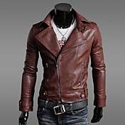 Asimétrico Zipper Short Pu Leather Coat vska Hombres