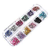 3000pcs 12 colores de uñas rueda de 2mm de arte consejos Rhinestone del brillo decoraciones
