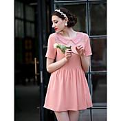 TS gasa de costura del vestido de manga corta de encaje