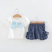 女の子の夏の半袖白のTシャツとブルードットショート二枚ローブセット
