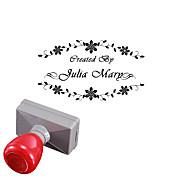 boda 33x63mm personalizado& estilo de la flor de negocios 2 líneas rectángulo grabado el sello sello fotosensible (a menos de 10 letras)