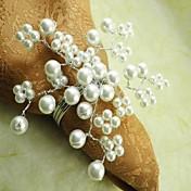 12 unids / set 4.5 cm metal pearl flor servilletero anillo vajilla mesa de almacenamiento