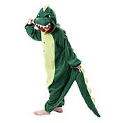 Pijamas Kigurumi Dinosaurio Pijamas de una pieza Disfraz Lana Polar Verde Oscuro Cosplay por Adulto Ropa de Noche de los Animales Dibujos