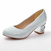 Mujer Zapatos Semicuero Primavera Verano Tacón Cuadrado Cuados Escoceses para Vestido Blanco Rosa Azul