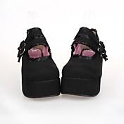 Zapatos Lolita Clásica y Tradicional Punk Lolita Plataforma Zapatos Encaje 7 CM Para Cuero Sintético/Cuero de Poliuretano