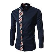 Men's Fashion Leisure Code Splicing Sleeved Shirt