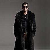 Abrigo de pieles largo de la moda de los hombres, cuello de solapa sólido de manga larga de invierno de piel sintética